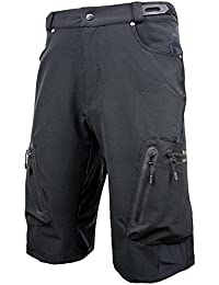 Men's Water Repellent MTB Baggy Cycling Shorts, Loose-Fit Bicycle Biking 1/2 Pants, Outdoor Sports Leisure Bottoms