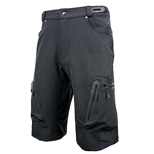 ALLY Men's Water Repellent MTB Baggy Cycling Shorts, Loose-Fit Bicycle Biking 1/2 Pants, Outdoor Sports Leisure Bottoms (XL 34″-36″, Black)