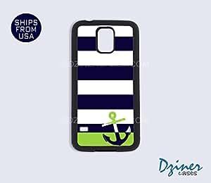 Galaxy S4 Case - Blue Green Stripes Anchor