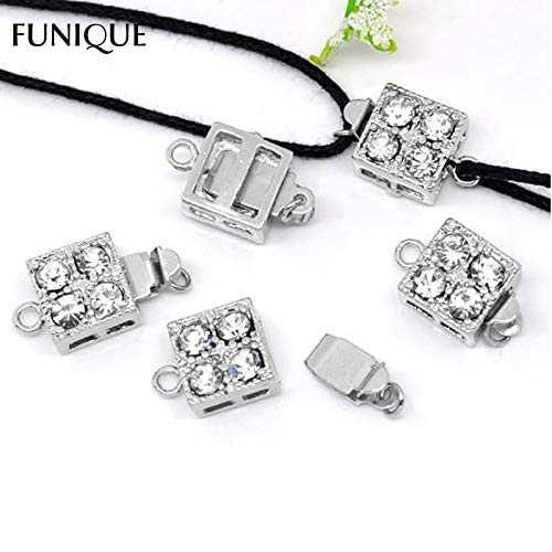 Lindsie-Box - New Clasps Findings 5Sets Square Rhinestone Pinch Push Clasps For Bracelets & Necklace Jewelry DIY 16x10mm