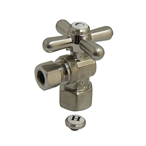 (Kingston Brass CC43108X Vintage 1/2-Inch FIP X 3/8-Inch OD 1/4 Angle Stop Cross Handle, 2-1/8-Inch, Satin Nickel)