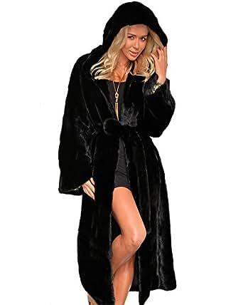 Aox Women Winter Coat Grey Fluffy Faux Fur Hood Warm