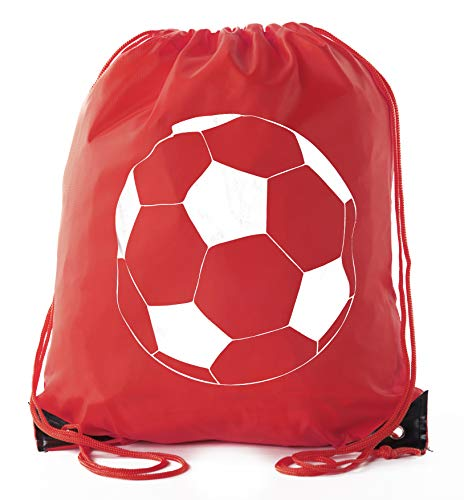 Soccer Party Favors | Soccer Drawstring Backpacks for Birthday Parties, Team events, and much more! - 6PK Red CA2500SOCCER S1 ()