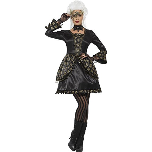 Masquerade Costumes - Smiffy's Women's Deluxe Masquerade Costume, Black/Gold, Small