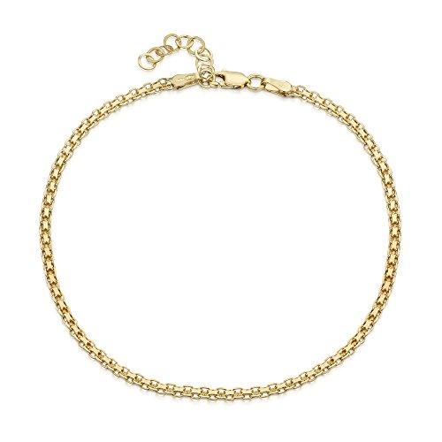 18K Gold Plated on 925 Fine Sterling Silver 2.2 mm Adjustable Anklet - Bismark Chain Ankle Bracelet - 9
