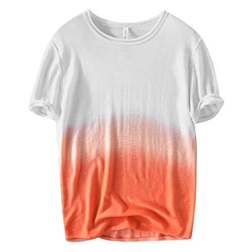 iYBUIA Men's 100% Cotton Lightweight Gradual Color Short Sleeve Comfortable Mandarin Collar Henley Blouse Orange