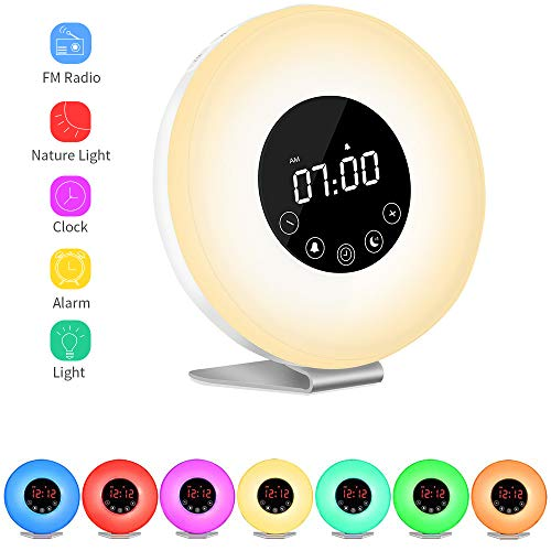 Sunrise Wake Up Light Digital Alarm Clock, MKROYO [2019 Upgraded] Alarm Clock with 7 Color Night for Bedside and Children, Multiple Nature Sounds, Sunrise and Sunset Simulation, FM Radio