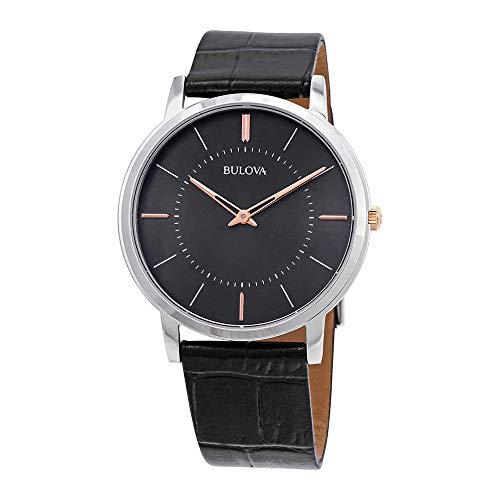 (Bulova Men's Stainless Steel Analog-Quartz Watch with Leather Strap, Black, 0.9 (Model: 98A167))