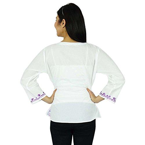 Las mujeres del verano nuevas Boho superior ocasional de la túnica Vestido de tirantes Blanco y púrpura