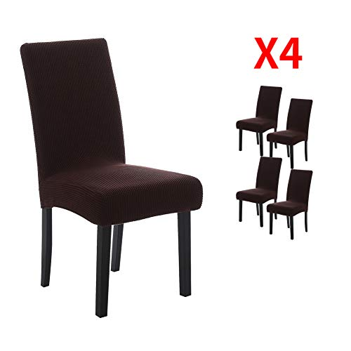 YIMEIS Comfort Stretch Dining Chair Slipcovers, Corn Kernels Jacquard Dining Chair Protector, Removable Washable Short Dining Chair Covers for Dining Room, Kitchen, Office (Pack of 4, Y_Dark Coffee)