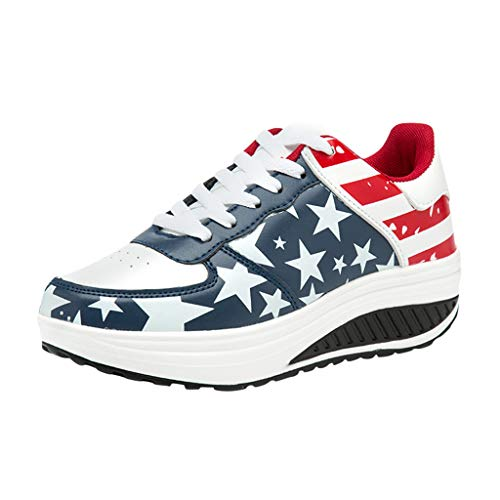 Memela Clearance sale Women Sneakers Lightweight American Flag Flock Roman Slip On Pantshoes Wedges Casual Shoes (Dark Blue, 8.5 M US)