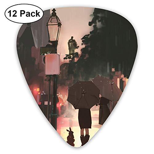 12-Pack Fashion Classic Electric Guitar Picks Plectrums Rain Drawing Street Instrument Standard Bass Guitarist
