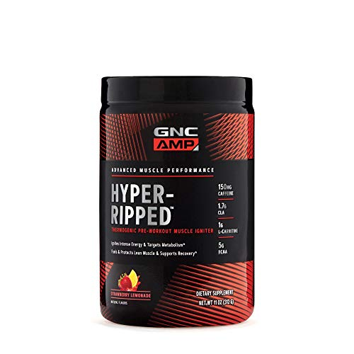 GNC AMP Hyper-Ripped, Strawberry Lemonade, 24 Servings, Thermogenic Pre-Workout