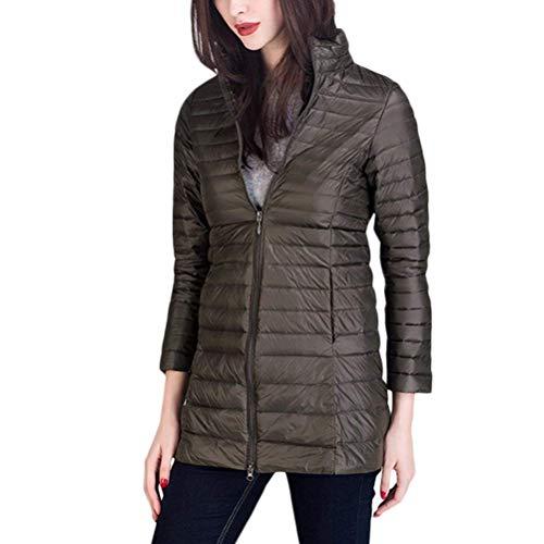 Con Lunga Outdoor Green Manica Coreana Giubotto Donna Laterali Abbigliamento Jacket Coat Di Moda Tasche Monocromo Cerniera Elegante Invernali Leggero Army Piumini Collo 7wAqXC