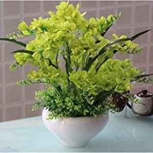 JINGB Home Butterfly Orchid Artificial Silk Flower Fake Decoration Vase Green Big 117