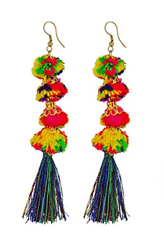 Ghoomar Fashion Pom Pom Earrings Party Wear Dangle Ethnic Jewelry Gift For Women - Link Multi Colored Earrings