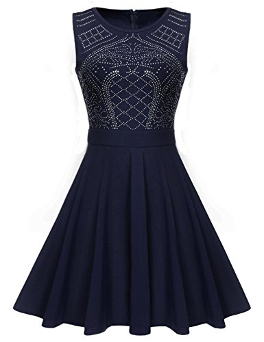 ELEOSL Women Elegant Sleeveless Beaded Prom Dress High Neck Homecoming Short Dress (Beaded Short Dress Cocktail Dress)