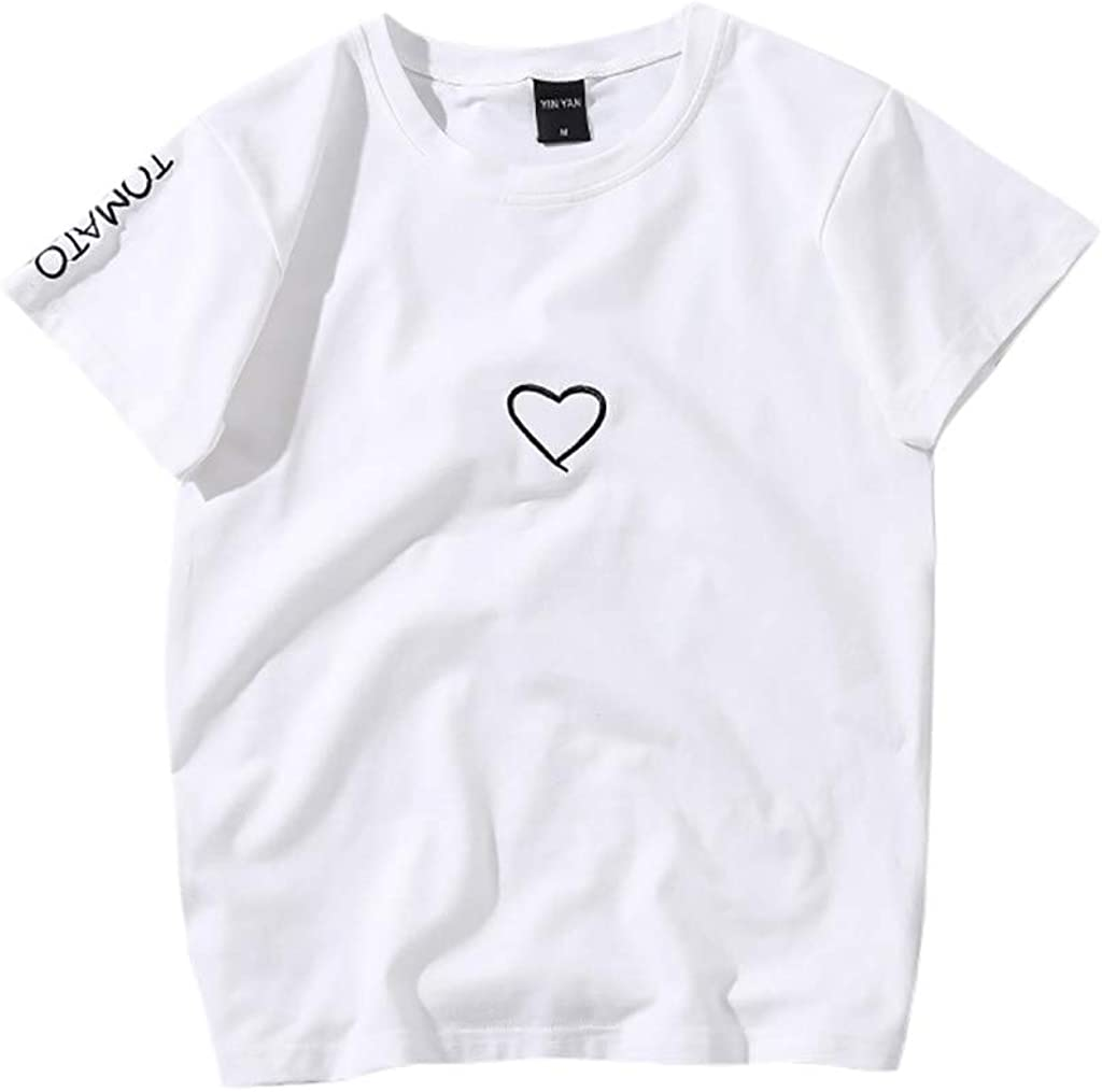 Toraway Fashion Men Women Casual Short Sleeve Letter O-Neck Blouse T-Shirt Tops Couple Shirt Tops