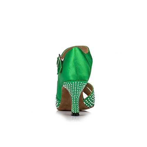 Minitoo Femme Th038Sparkling en satin pour mariage piste de danse latine Taogo Dance Sandales - Vert - Green,