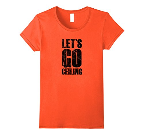 Womens Let's Go Ceiling - Ceiling Fan Halloween Costume T-shirt XL Orange