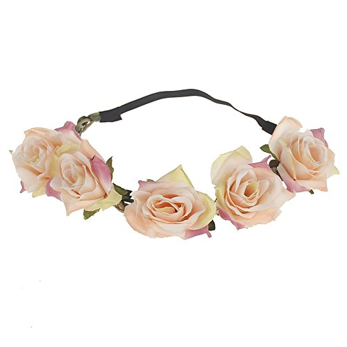 June Bloomy Women Rose Floral Crown Boho Flower Headband Hair Wreath -