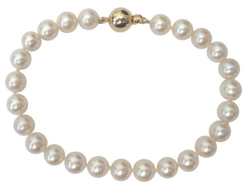 White 6-7mm Cultured Pearl Bracelet Round 14Ct Yellow Gold Clasp by Pearls Paradise