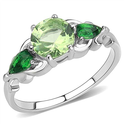 (Stainless Steel Ring No Plating Women Synthetic Peridot (10))