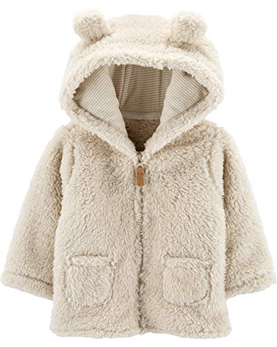 Carter's Zip-Up Sherpa Cardigan Jacket, Oatmeal Sherpa, 3 Months (Newborn Boy Jacket)