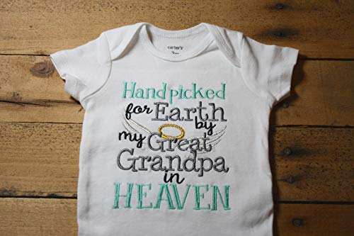 Embroidered Bodysuit Handpicked for Earth by my Great Grandpa in Heaven Baby Shower Gift Hand Picked Bodysuit Blue New