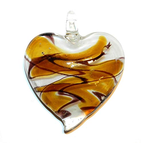 Bead Jewelry Making Golden Yellow Topaz & White Swirl 43mm Heart Lampwork Glass Pendant