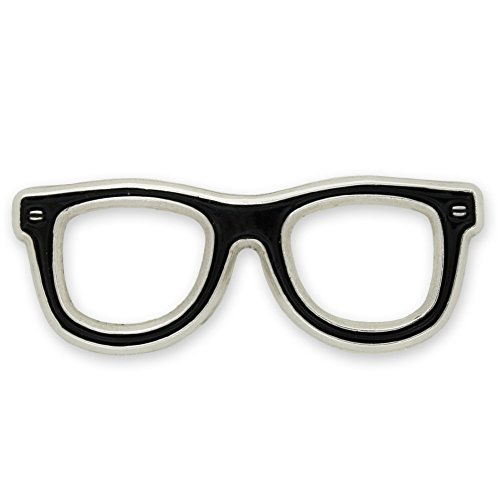 Black Glasses Frames Eyeglasses Lapel Pin, 100 pack by PinMart