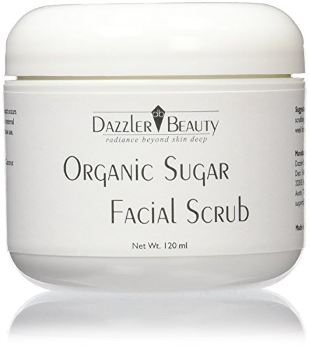 Dazzler Beauty Organic Sugar Facial Scrub - Exfoliates & Smooths Skin - Ideal Cleaning Solution for Dry or Dull Skin - For All Skin Types - 4.0 oz/120 - Hut Types