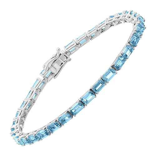 8 ct Natural Swiss Blue Topaz Emerald-Cut Tennis Bracelet in Sterling Silver, 7.5'' by Finecraft