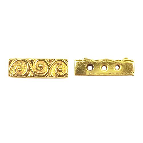 18K Gold Overlay Multi Strand With Scroll Pattern Spacer Bar With 3 Hole CG-466-18X6MM