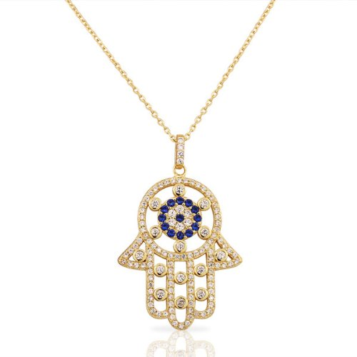 925 Sterling Silver Yellow Gold Evil Eye Hamsa White Blue CZ Large Womens Pendant (Large Hamsa Necklace)