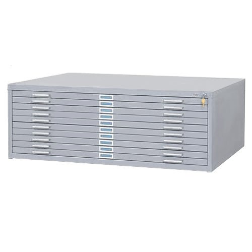Safco SAF4986GRR 10 Drawer Steel Flat File for 30'' x 42'' Documents, Gray by Safco