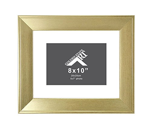 0 Frame for 5x7 Photo with White Mat, Table-Top Easel Stand, Real Glass (Champagne Gold) ()