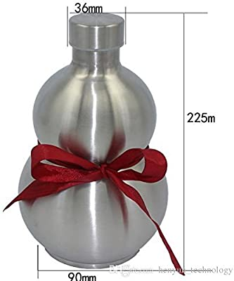 64 Oz Stainless Steel gourd Wine Flask Bottle Flagon Kettle Outdoor Brown Strap