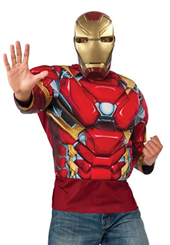 [Marvel Men's Captain America: Civil War Muscle Chest Iron Man Long Sleeve Costume Top, Multi, One] (Iron Man Shirt And Mask Costumes)