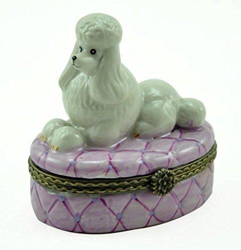 Porcelain French Poodle Dog Hinged Trinket Box with Tiny Trinket, 2.5 Inches Tall (Dog Hinged Trinket Box)