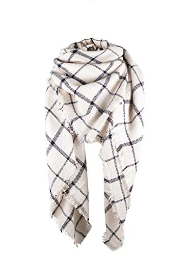 Women's Fall Winter Scarf Classic Tassel Plaid Scarf Warm Soft Chunky Large Blanket Wrap Shawl Scarves Beige Plaid