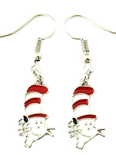 Dr Seuss Cat in the Hat Premium Quality Silvertone Dangle Earrings -