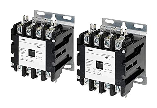 5Y6 40 Amp 4 Pole Normally Open NEMA 600V HVAC Definite Purpose Contactor – 110/120VAC Coil, Inductive 40A, Resistive 50A (Pack of ()