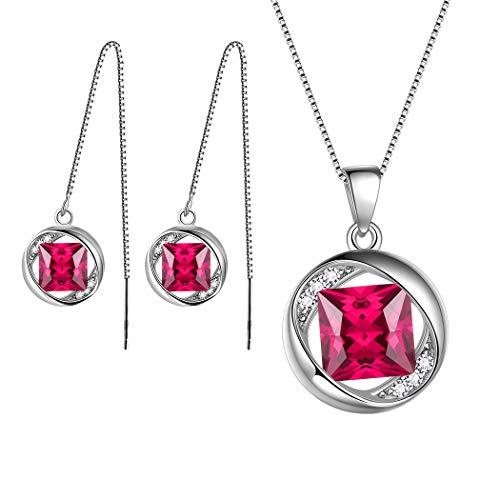 Aurora Tears July Birthstone Jewelry Sets Women 925 Sterling Silver Necklace/Earring Sets Crystal Jul. Birth Stone Jewelry Girls Birthday Gift DS0029R - Necklace Set Pendant Jewelry