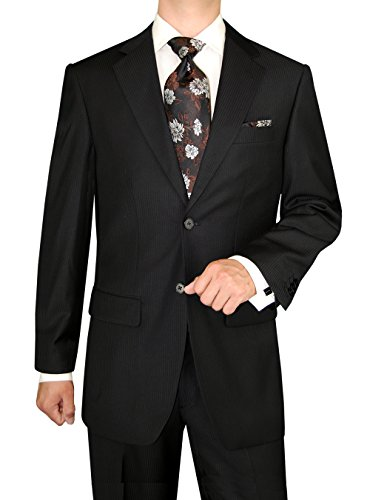 DTI GV Executive Italian Men's Wool Suit 2 Button Jacket 2 Piece Shadow Stripe (44 Short US / 54S EU/W 38