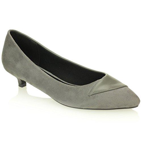 Mujeres Señoras Tarde Cortes Casual Bajo Kitten Tacón Sandalias Zapatos Tamaño (Negro, Gris) Gris