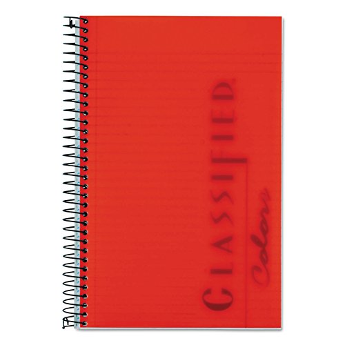 TOPS Classified Business Notebook, 5.5 x 8.5-Inch, College Rule, 100 Sheets per Book, Ruby Plastic Cover (73505)