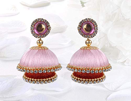 - Krishna Handmade INDIAN Vintage Double Decker Earrings [Baby Pink + Antique Gold] [Medium - 30mm Dia] [KPR-CMB-DD23]