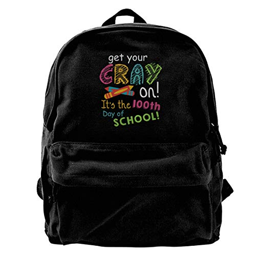 Blcak Backpack School Bag Get Your Cray On It's The 100th Day Of School]()