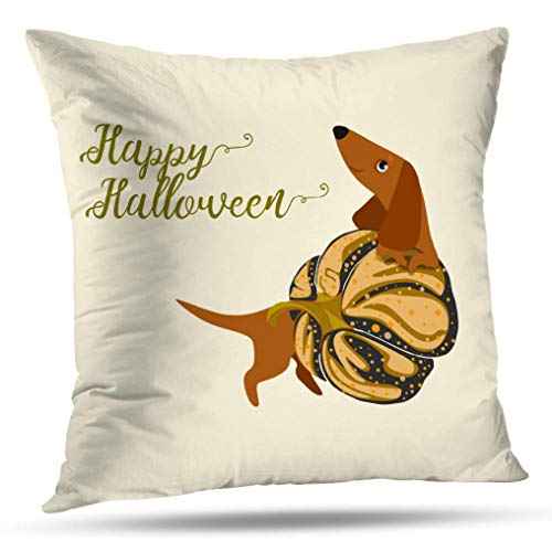Alricc Dachshund Art Pillow Cover, Happy Halloween with Dachshund Pumpkin Happy Decorative Throw Pillows Cushion Cover for Bedroom Sofa Living Room 18X18 Inches -